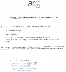 Attestation ADELI Octobre 2013