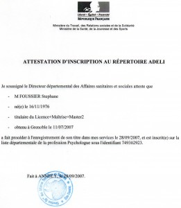 Attestation Adeli septembre 2007